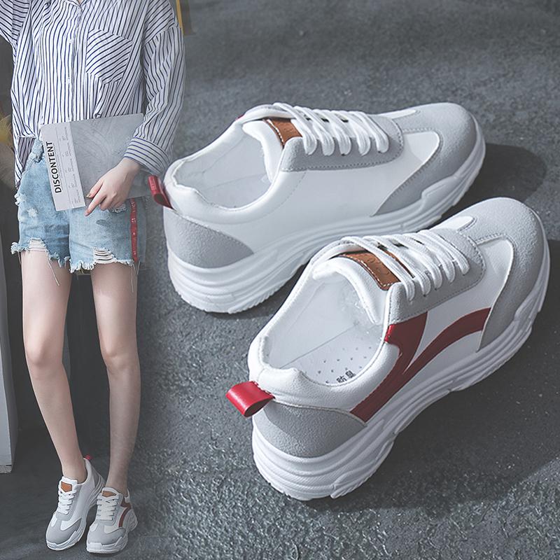 2018秋天新款百搭韩版单鞋运动鞋原宿风女鞋松糕厚底小白鞋