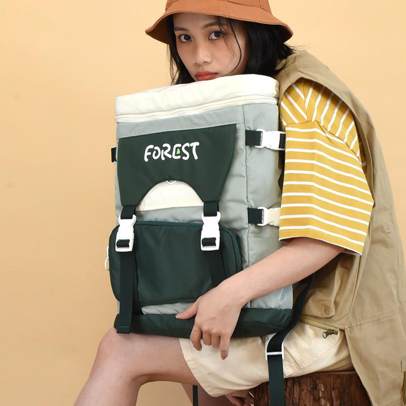 NULL原创工装风尼龙撞色书包旅行双肩包休闲轻便15寸电脑背包中性