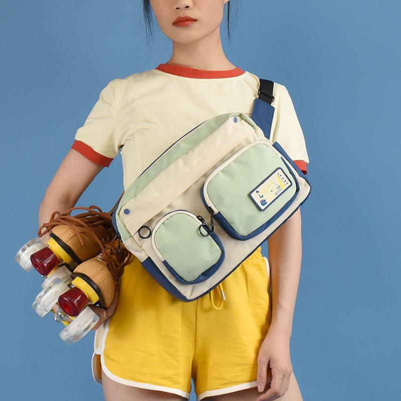 NULL bag原创 2020新款roller girl主题拼色斜挎包复古轮滑斜背包