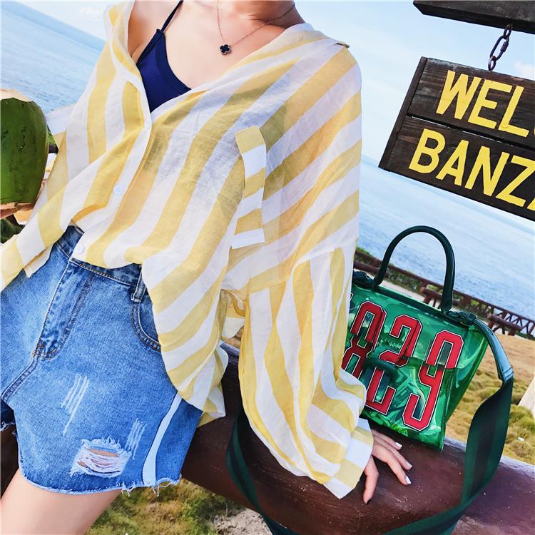 泰国韩版条纹蝙蝠袖衬衫女海边度假防晒衣薄外套披肩开衫上衣夏