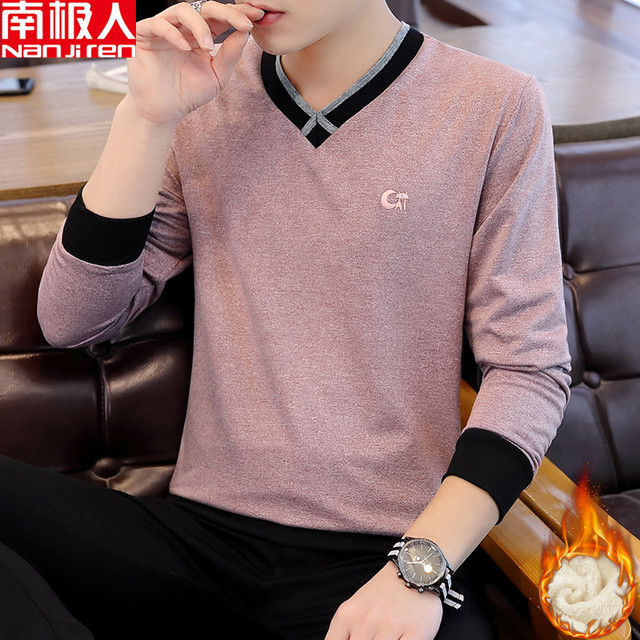 Antarctic people in autumn and winter plus velvet thickening V-neck T-shirt sweater men's slim long-sleeved warm bottoming shirt men's shirt