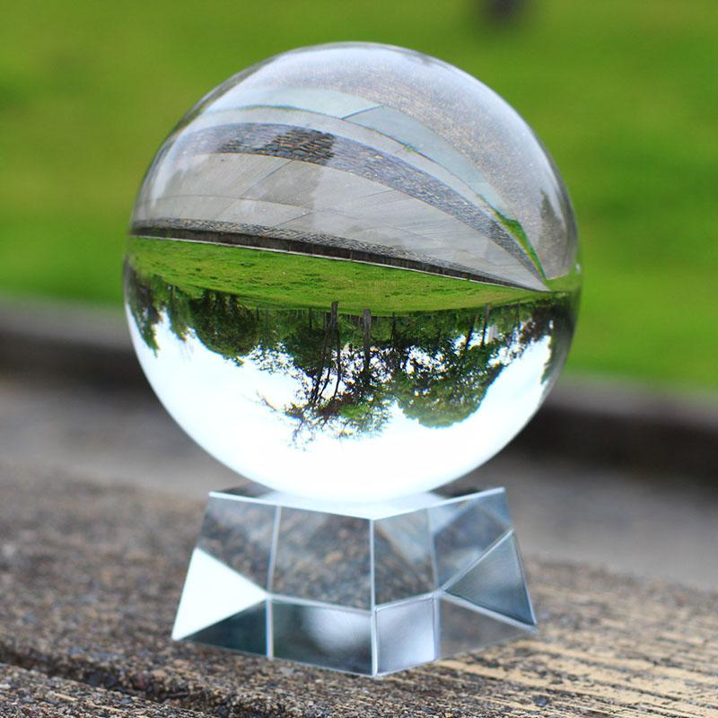 透明白水晶球摆件招财玄关客厅书房办公桌拍照摄影风水球家居装饰