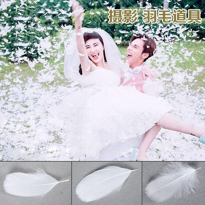 白羽毛新款影楼婚纱摄影道具儿童拍照创意写真外景拍摄一包100片