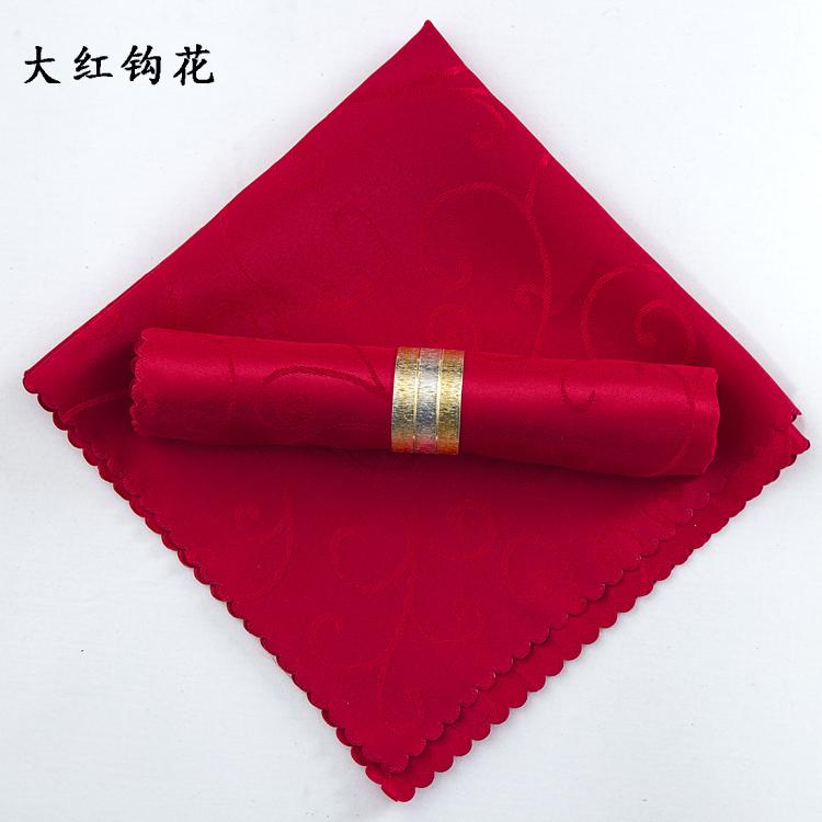 提花口布席巾折花 西餐巾餐厅欧式红色酒店擦杯布 餐巾布餐垫布