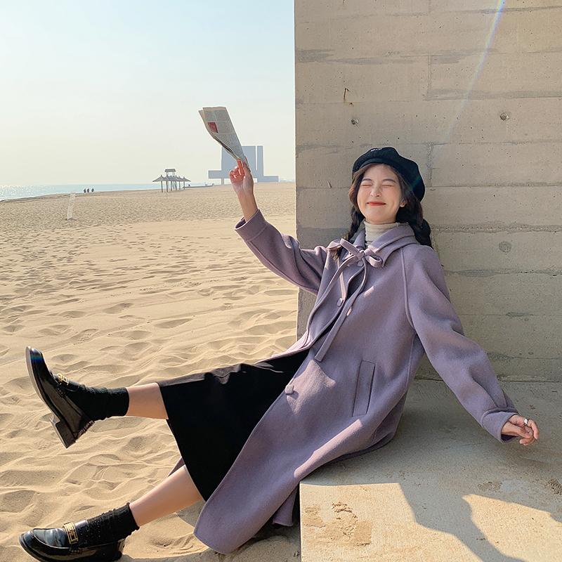 【胡楚靓 罗曼蒂克】100全羊毛紫色双面呢大衣女羊绒外套气质百搭