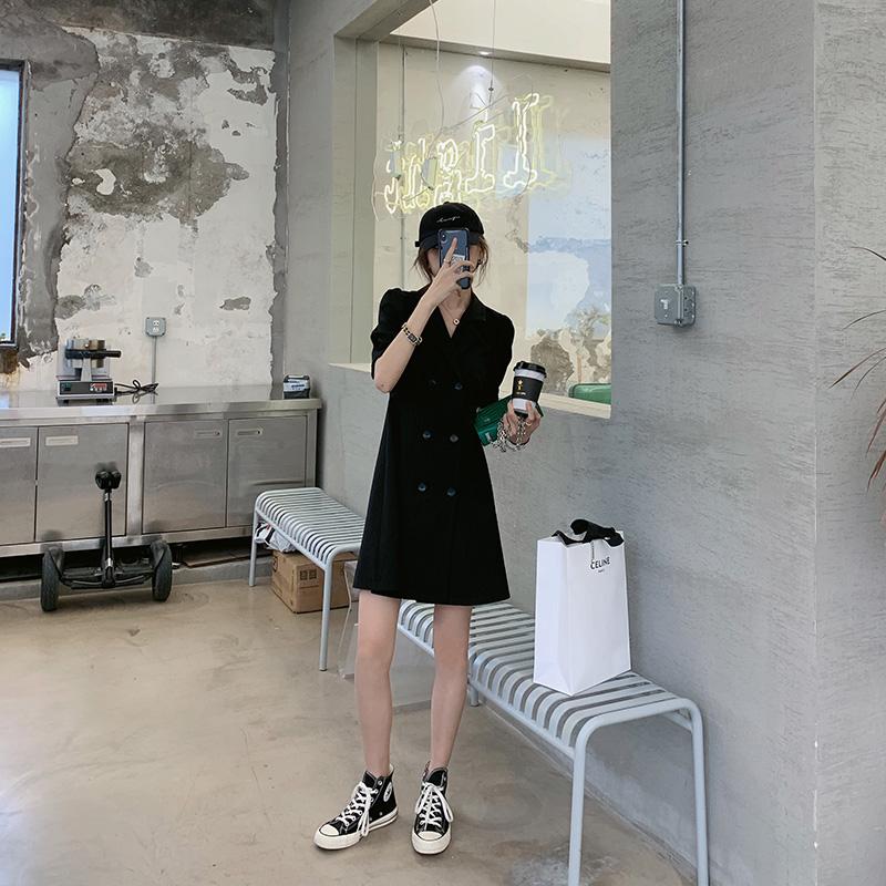 【胡楚靓】2021新款夏天黑色收腰显瘦修身气质轻熟风西装连衣裙女