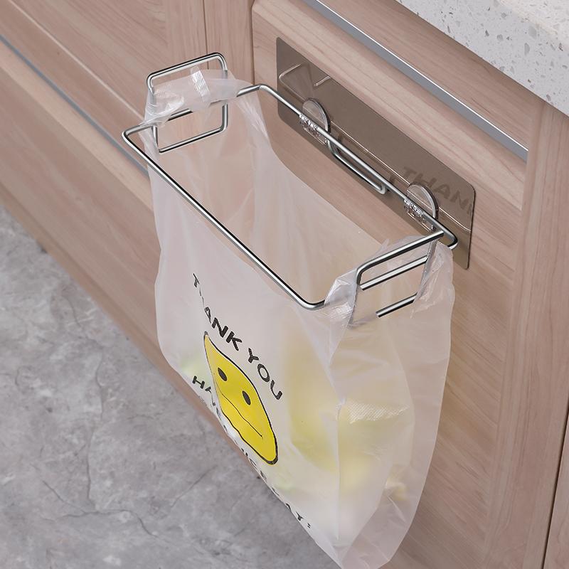廚房櫥櫃吸盤式垃圾袋架掛架子不鏽鋼無痕門背塑料垃圾架掛鉤支架
