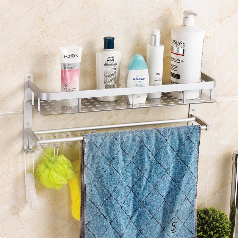 雙慶衛生間置物架雙層太空鋁浴室置物架毛巾架衛浴用品收納免打孔