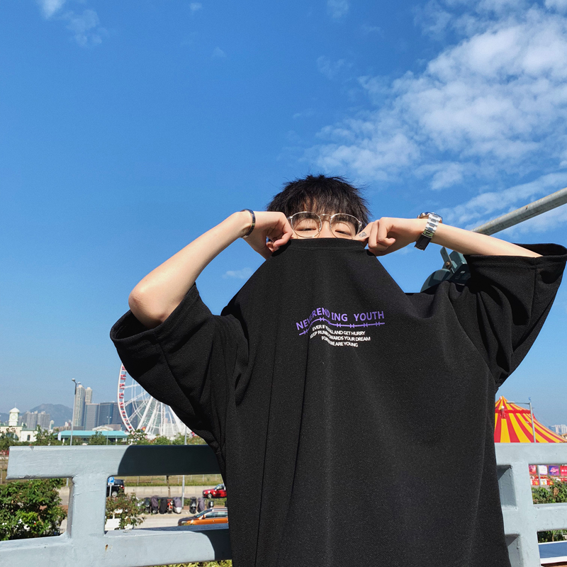 2020春夏季港风七分袖T恤男士圆领短袖韩版潮流学生宽松五分半袖