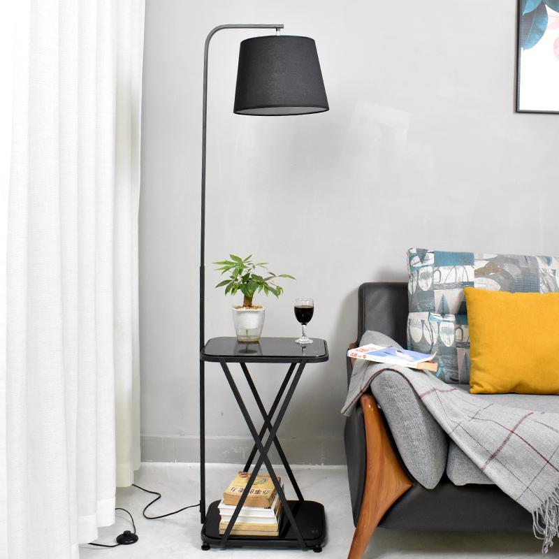 无线充电落地灯茶几客厅北欧卧室书房现代轻奢钢化玻璃落地式台灯