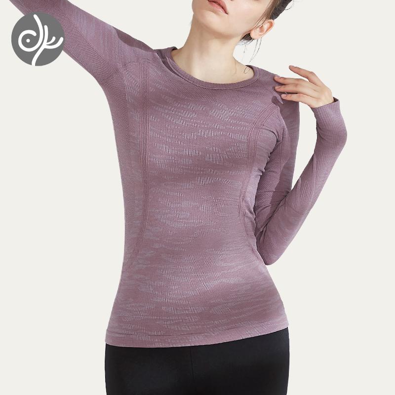 青鸟瑜伽服女一体成型流沙长袖弹力塑形显瘦紧身跑步运动健身T恤