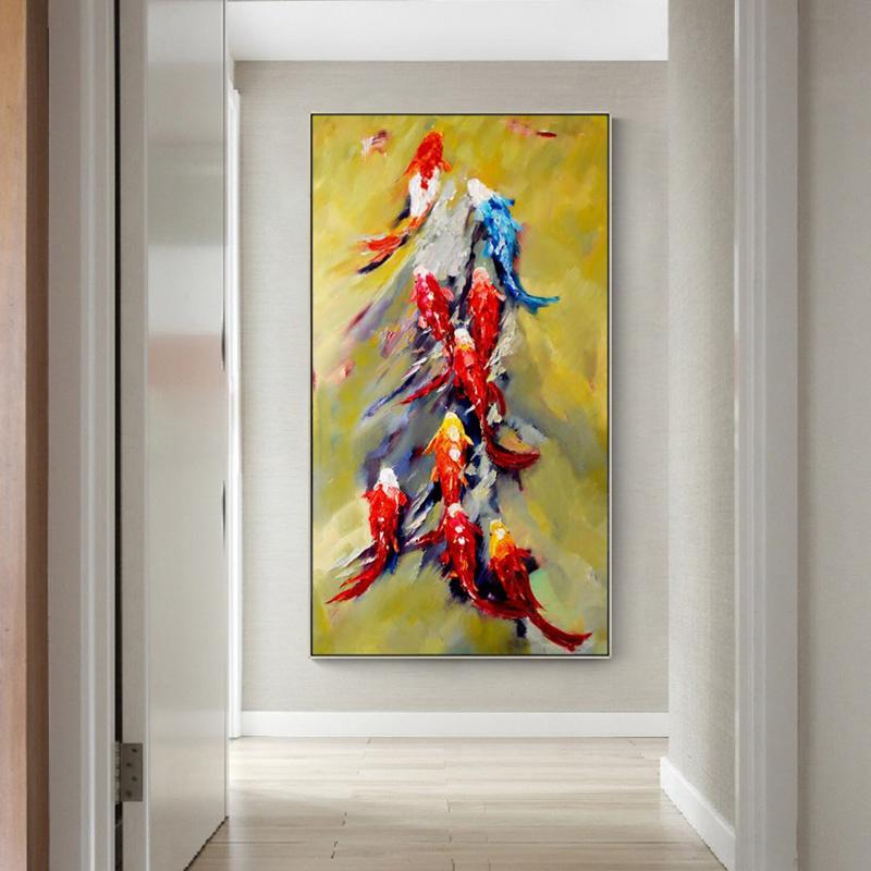 純手繪油畫刮刀現代簡約入戶玄關掛畫客廳走廊過道豎版壁畫九魚圖