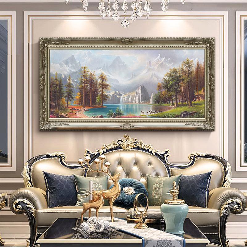 純手繪歐式客廳山水風景油畫掛畫手工橫版聚寶盆風水辦公室裝飾畫