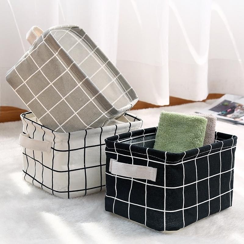 长方形布艺篮子收纳筐手提收纳框桌面杂物筐浴室洗澡收纳篮置物篮【图2】
