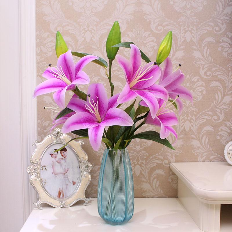 香水百合pu手感仿真花束 欧式客厅装饰花假花艺摆件3束玻璃瓶套装
