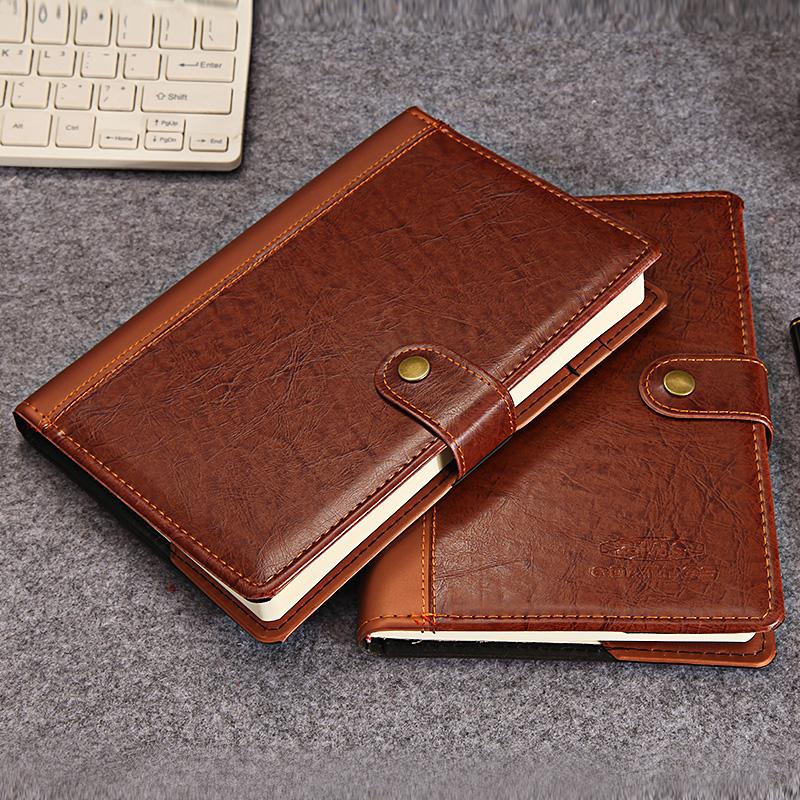 办公商务笔记本文具A5皮面创意带扣记事本复古日记本子可定制LOGO