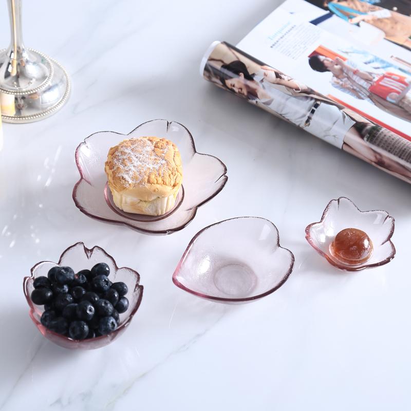 玻璃小碟櫻花味碟碗創意料理玻璃雪糕碗甜品碗水果沙拉碗玻璃碟子