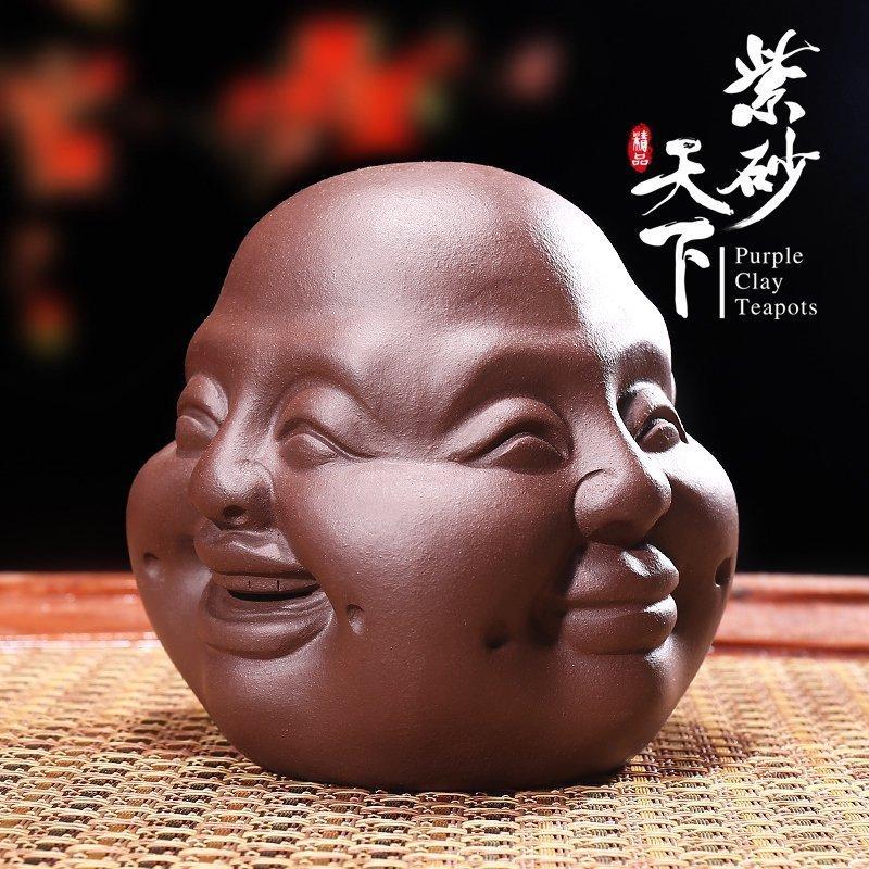 紫砂茶寵精品喜怒哀樂四面佛靈氣功夫茶道小茶玩雕塑擺件茶具配件