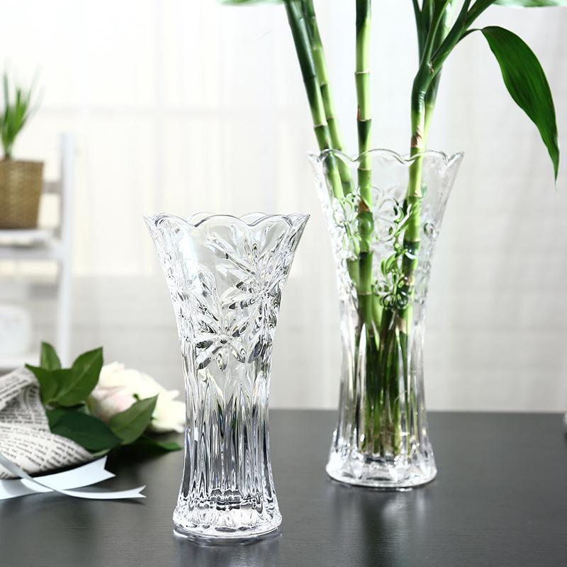 客厅摆件插花水培富贵竹百合干花落地饰品 欧式大号玻璃透明花瓶