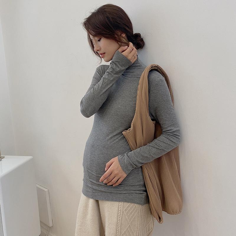 恤大码中长款孕妇装纯色春秋内搭  恤衫 t 孕妇弹力打底衫长袖莫代尔 t