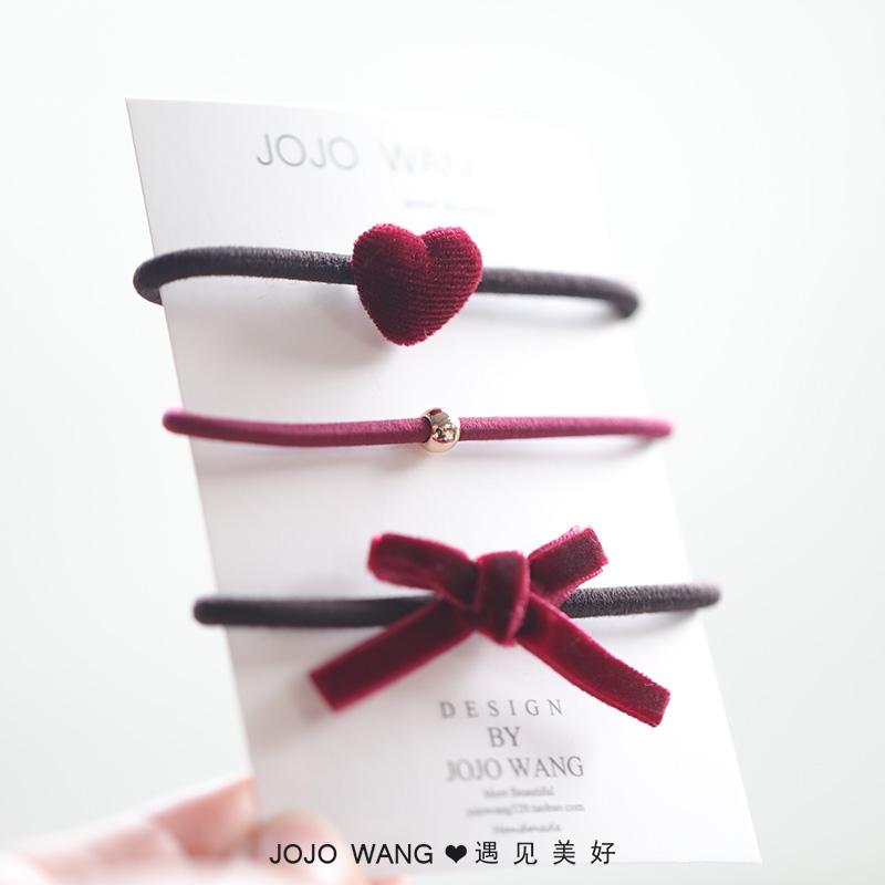 w900 发饰头饰韩国 三层发圈发绳皮筋桃心套装头绳 你 致喜欢简单