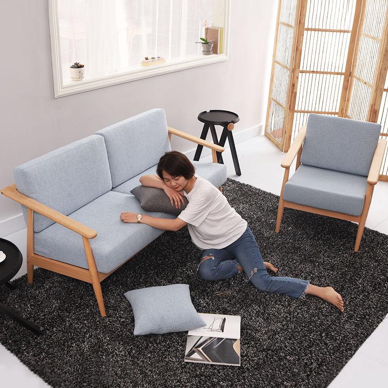 北欧实木沙发组合三人小户型客厅原木风布艺沙发现代简约榉木沙发