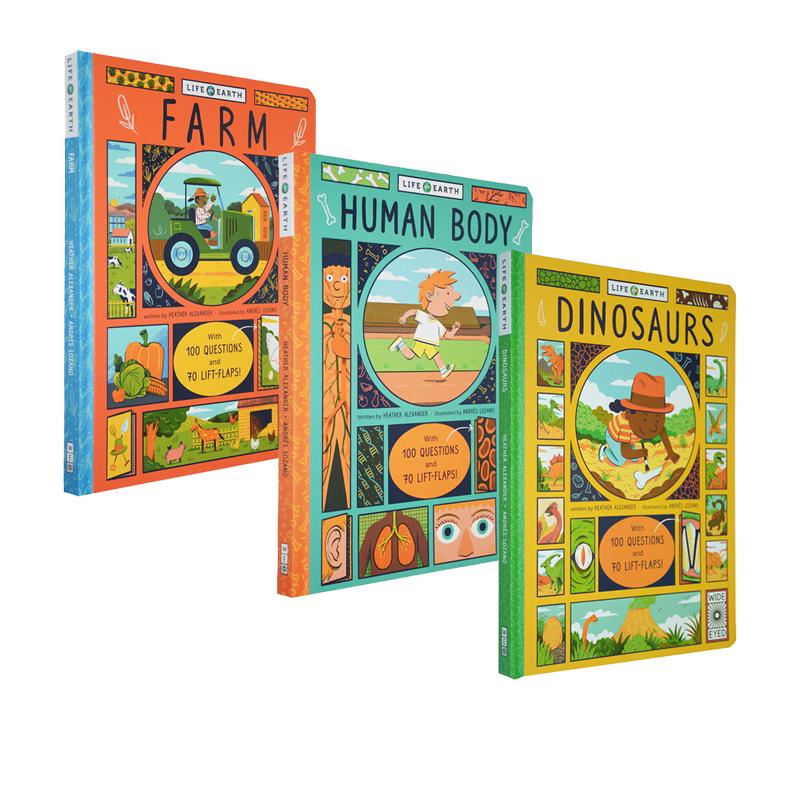 英文原版 Life on Earth Human Body/Farm/Dinosaurs 3册合售 地球上的生命系列 小学STEM科普 自然生物科学通识 纸板翻翻书优惠券