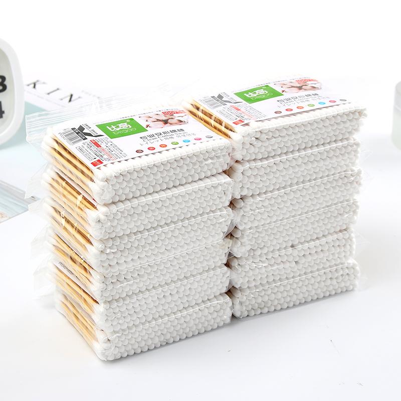 创意居家 胶袋木棒棉签 优质卫生棉棒化妆卸妆两头棉花100支装