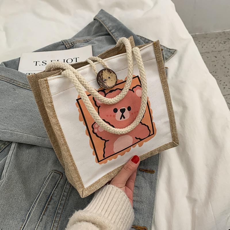 可爱手拎便当帆布包包女2021新款韩版ins网红森系文艺手拎小布包