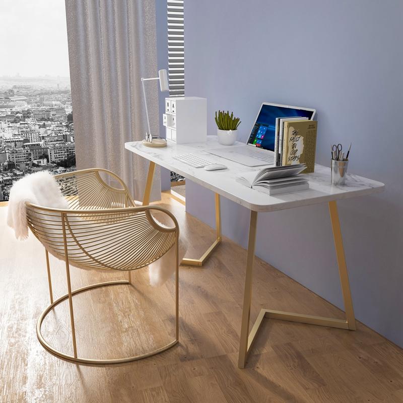 卧室家用办公桌子岩板书桌一体