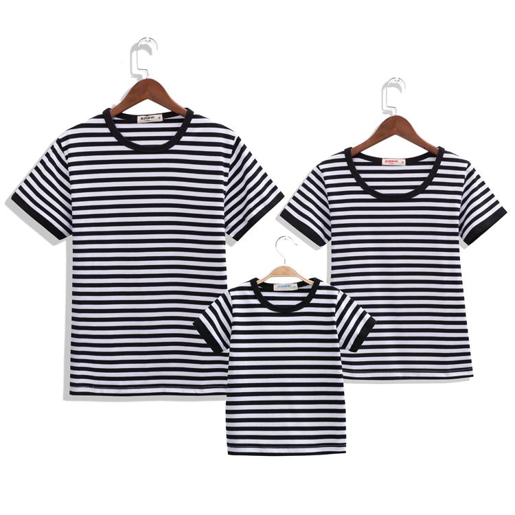 亲子装海魂衫短袖条纹t恤一家三口全家装纯棉半袖蓝白海军风体恤