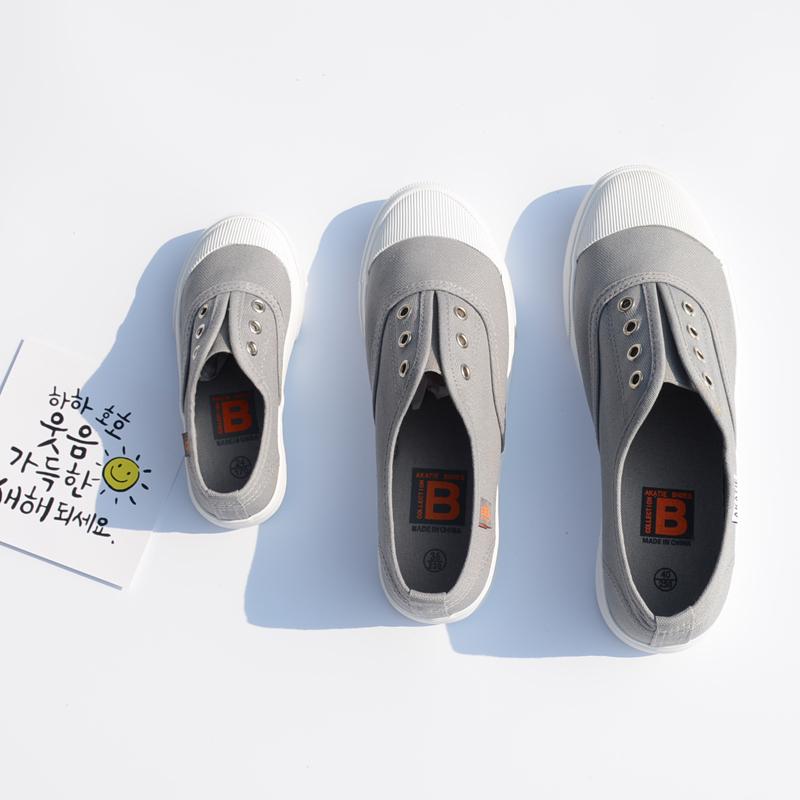 韩国儿童帆布鞋一家三口亲子鞋女男小童一脚蹬板鞋宝宝学步白鞋潮