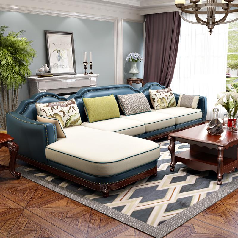 美式真皮沙发组合 客厅乡村皮布沙发L型转角 地中海实木皮艺沙发