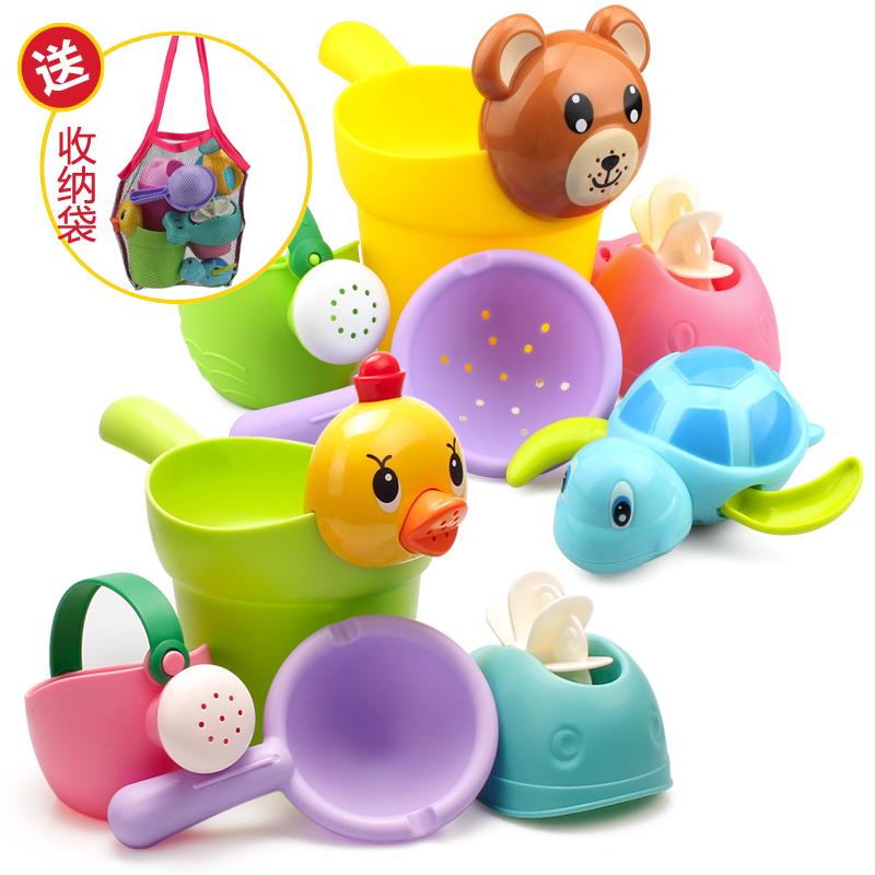 儿童洗澡玩具戏水车男孩女孩小黄鸭洗头杯婴儿宝宝洒水壶套装沙滩