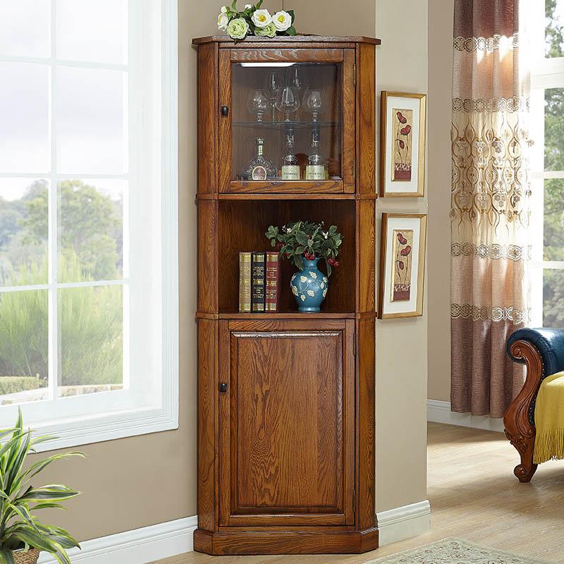 美式角柜实木三角形欧式客厅角落靠墙边柜转角柜置物书架拐角酒柜
