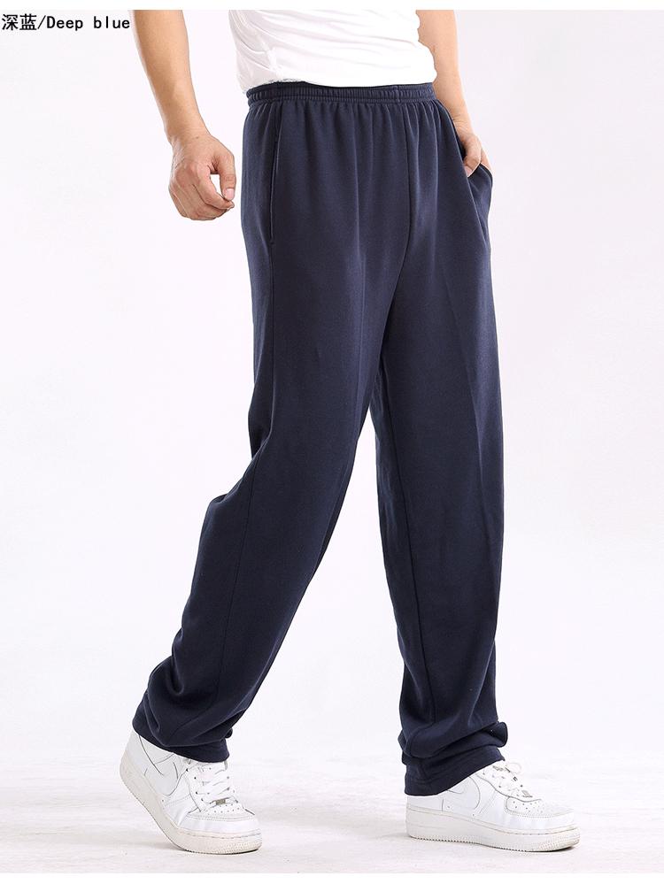 新款秋冬加绒男士运动裤休闲宽松春季长裤棉薄款直筒松紧大码卫裤