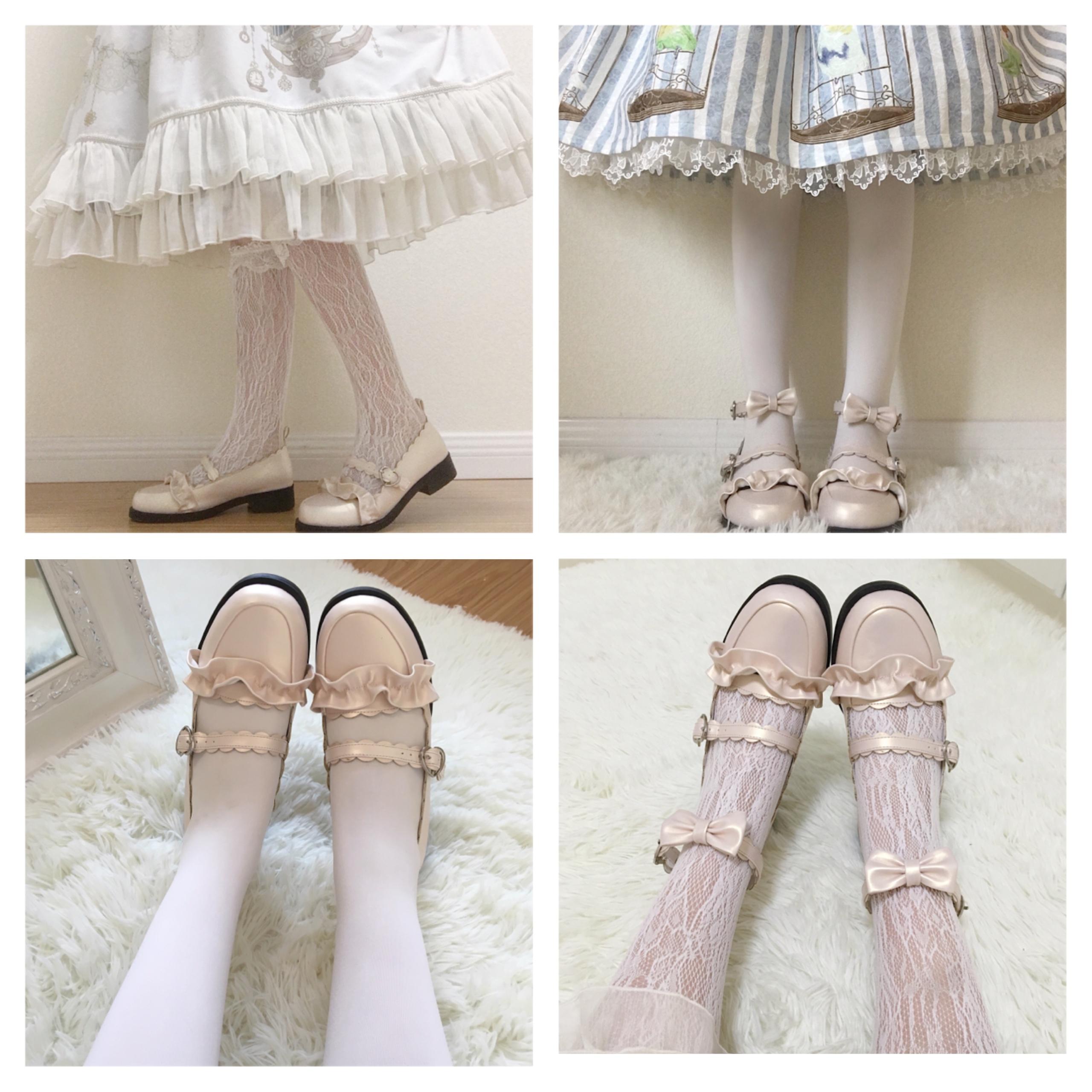 鞋日系花边圆头学生鞋 Lolita 绵羊泡芙原创 低跟梅露露 现货