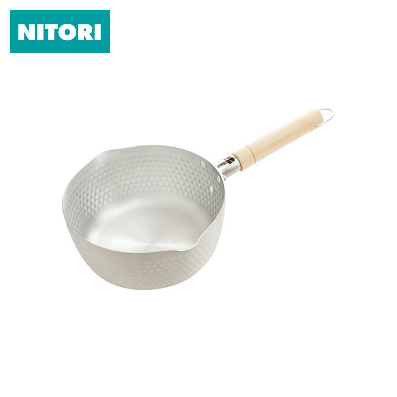 日本NITORI尼達利 雪平鍋 平底熱奶煮奶鍋泡麵鍋木柄小湯鍋不沾鍋