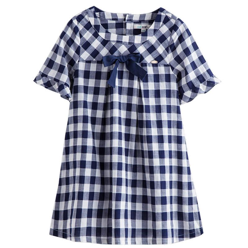 茵曼童装夏季新款儿童格子短袖连衣裙中大女童纯棉蝴蝶结公主裙