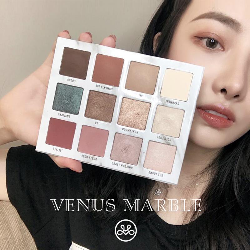 方恰拉推荐官方授权VENUS MARBLE大理石眼影盘12色珠光哑光大地色