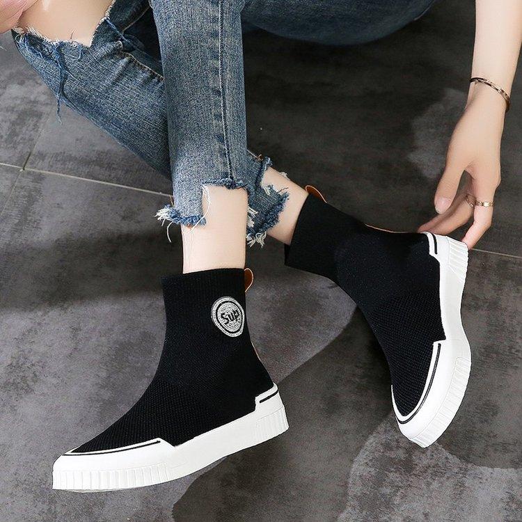 袜子鞋女2020夏秋新款黑色高邦运动鞋女百搭飞织弹力高帮女款袜鞋