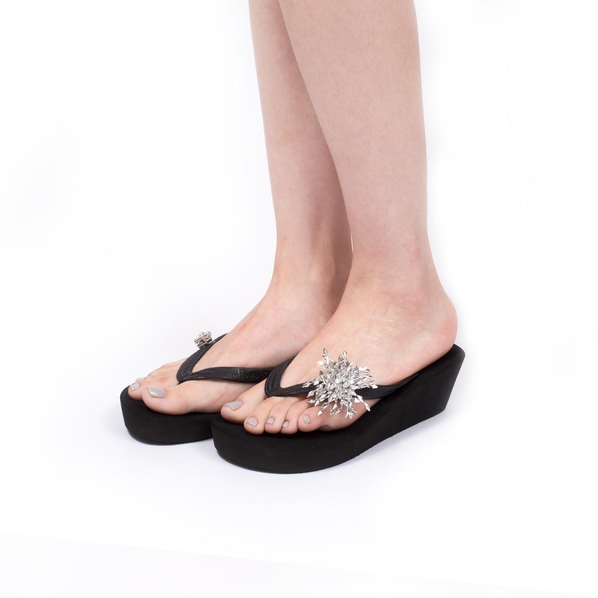 人手一雙POPITS女士5釐米黑色坡跟楔形跟拖鞋人字拖夾腳拖沙灘鞋