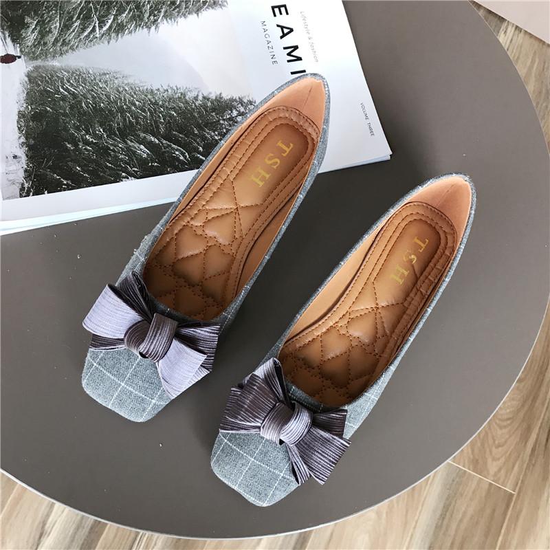 欧美2019秋时尚新款女鞋蝴蝶结浅口方头平跟平底单鞋女百搭格子鞋