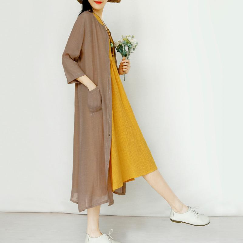 复古文艺范长款外套夏季开衫薄款外搭防晒衣披肩防晒服宽松森女系