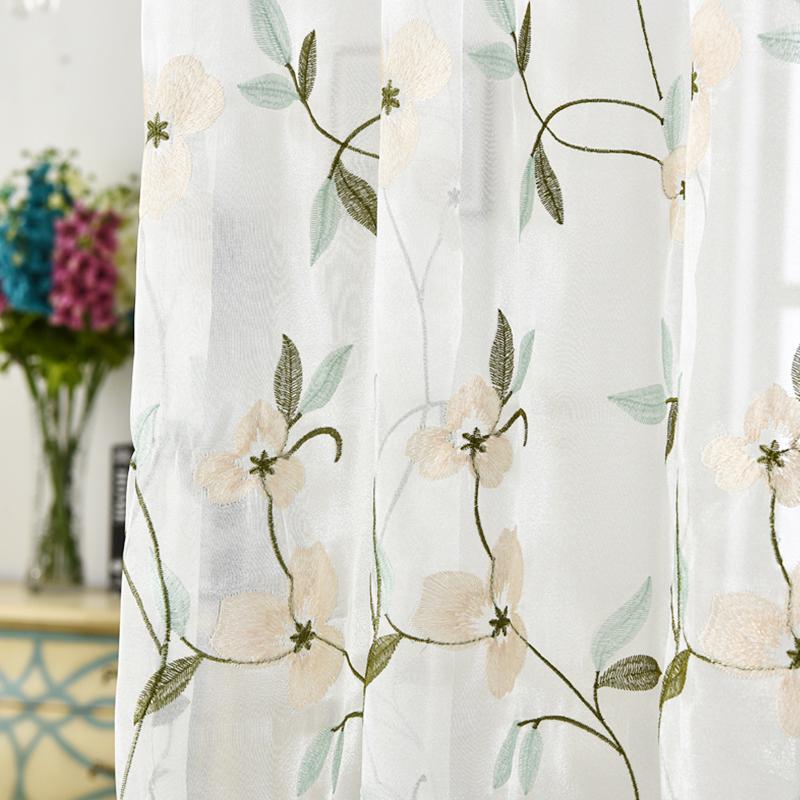 韩式绣花窗纱小清新客厅卧室餐厅门帘防蚊蕾丝纱成品定制包邮