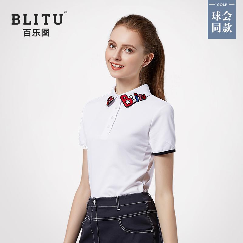 高爾夫球服裝女士T恤短袖夏季速乾透氣運動衣服修身翻領POLO衫