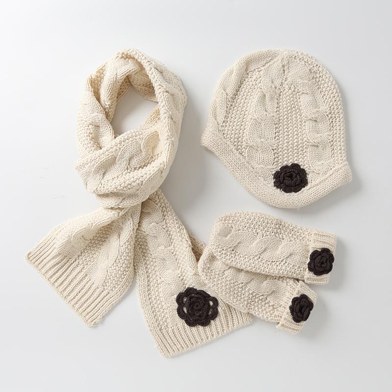伊米伦女童帽子围巾手套三件套冬季纯色公主套装韩版宝宝保暖帽子