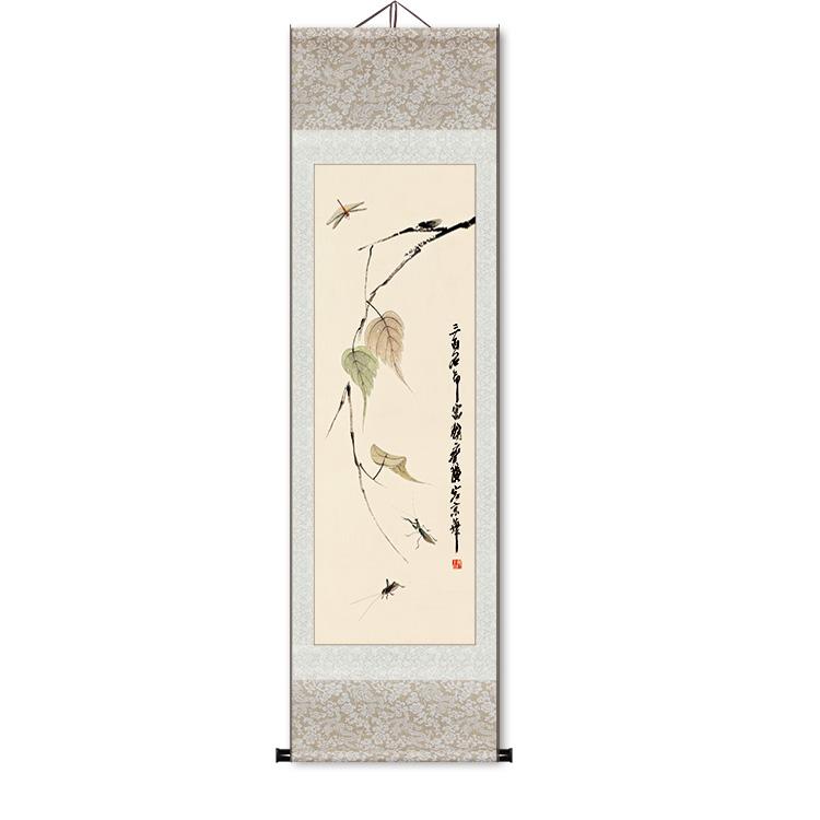 宣紙藝術微噴古代名畫復制品國畫掛軸水墨山水畫花鳥掛畫四尺條幅