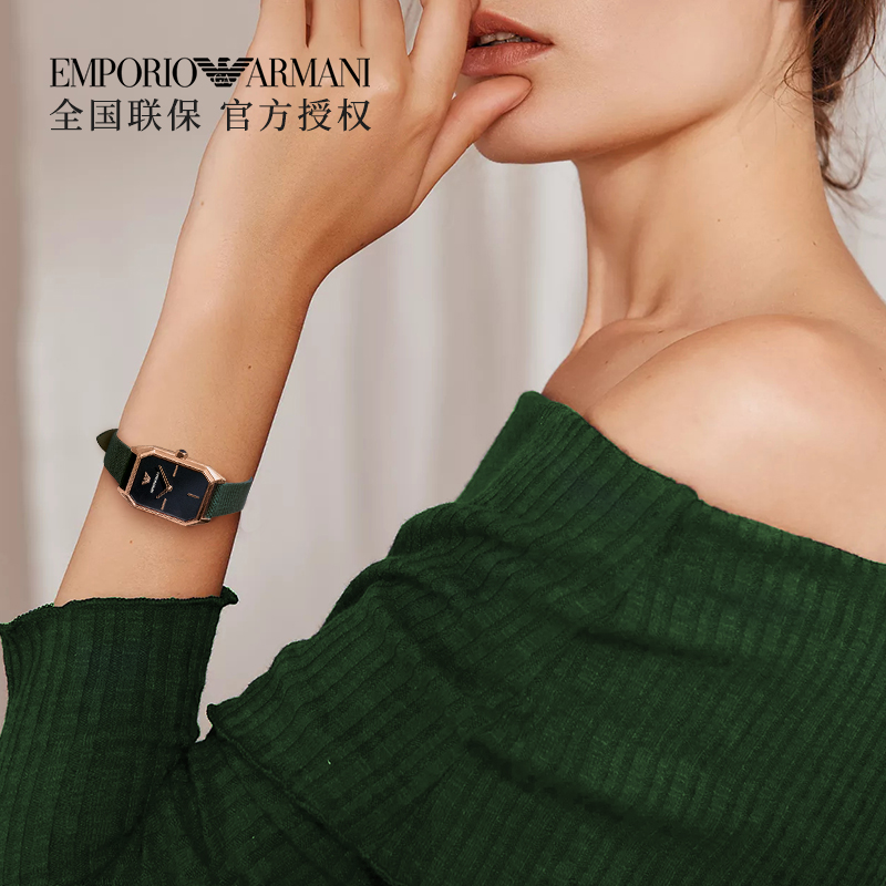 阿玛尼手表女时尚方盘镶钻皮带石英女表AR11149
