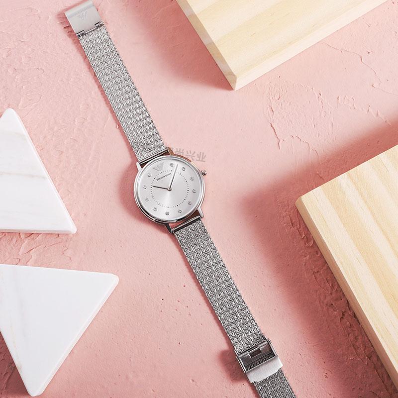 Armani阿玛尼官方满天星手表女 时尚休闲镶钻编织钢带腕表AR11128